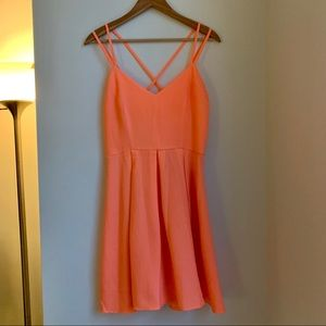 Ya Nordstrom Coral double cross strap short dress
